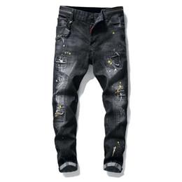 $enCountryForm.capitalKeyWord NZ - Rock revival Style Men's slim Denim jeans famous brand patchwork straight zipper jeans pants black hole brand Robin jeans for men 29-38