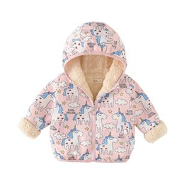 children jackets boys UK - Dulce Amor Kids Unicorn Coat Winter Warm Boys Girls Jacket Children Print Unicorns Thicken Hooded Outerwear Tops Drop shipping