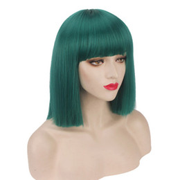 $enCountryForm.capitalKeyWord UK - Similler Women Short Bob Synthetic Wigs High Temperature Fiber Hair with Fringe bangs and Rose Net Dark Green Blue Purple
