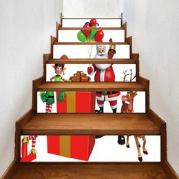 $enCountryForm.capitalKeyWord UK - Christmas Decor Santa Claus Pattern DIY Staircase Sticker Home Living Wall Mural Sticker Stair Steps Sticker Decal Xmas Gifts