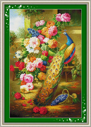 wealth flower Canada - Peacocks in flower garden,Wealth decor paintings ,Handmade Cross Stitch Embroidery Needlework sets counted print on canvas DMC 14CT  11CT
