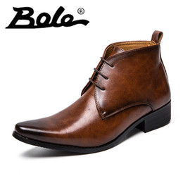 $enCountryForm.capitalKeyWord Australia - Dress Casual Men Leather High Top Shoes Point Toe Lace Up Business Solid Color Comfortable and Breathable Walking Shoes