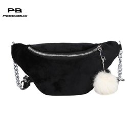 balls pack Australia - Travel fanny pack for women Fleece banana bag Casual Chain belt bag pochete feminina crossbody bags with plush ball bolsas purse
