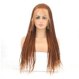 Hair Brown UK - Brown Lace Front Wigs Long Hair Braid Wig High Temperature Synthetic 180% Density Nature Hairline Braid Wig with Baby Hair