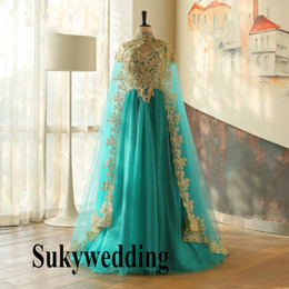 $enCountryForm.capitalKeyWord NZ - Turquoise Muslim Arabic Evening Dresses with Cloak Gold Appliques Moroccan Kaftan Dubai Prom Dress Turkish Pageant Formal Party Gowns