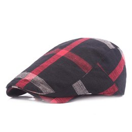 gatsby hats men NZ - Unisex Colored Plaid Cotton Newsboy Caps Hats Flat Ivy Gatsby Cap Men Women Retro Berets Driving Casquette