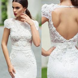 Discount simple unique wedding dress sleeves - New Unique Lace Wedding Dresses Sheath Knee Length Cap Sleeves Hollow Back Short Garden Wedding Dresses Bridal Gowns