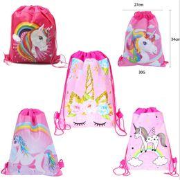 $enCountryForm.capitalKeyWord Australia - Cartoon Drawstring Bags Surprise Girls Baby Shark Unicorn Avenger Backpack Double-sided non-woven bundle Pocket Shoudler Bag For Kids A51501