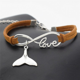 Wholesale New Fashion Infinity Love Sea Animal Whale Tail Pendant Wax Rope Brown Leather Hemp Braided Bracelet Bangle Simple Charm Ethnic Wind Jewelry