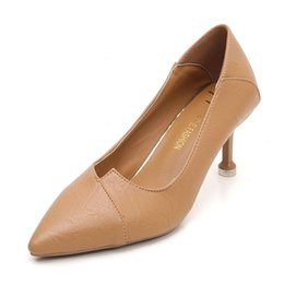 Stiletto Party Office Shoes Australia - Female Fashion Solid Pumps Design Buckle Strap Sexy Shoe Soft Pointed Toe Office Party Dress Stiletto Heel Luxury High Heel YY-WSd88227