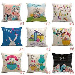 $enCountryForm.capitalKeyWord NZ - 2019 Pillowcase Square Happy Easter Retro Egg Bunny Rabbit Design Pillow Case Sofa Car Cushion Covers Festival Decors