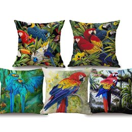 Blue feather Bird online shopping - Parrot Birds Watercolor Painting Cushion Covers Tropical Forest Colorful Feather Beige Linen Pillow Covers X45cm Chair Sofa Decoration
