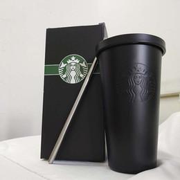 Ingrosso Nuovo Starbucks in acciaio inox tazza tazza classico desktop con la tazza sippy paio di modo della tazza di caffè del coperchio