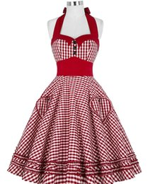 vintage swing Australia - 50 s 60s Summer Style Women Dress Gowns Plaid Vintage Rockabilly Pin Up Swing Vestidos Dress S-2XL