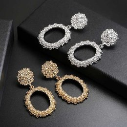 Discount heavy earrings - 2019 New Popular Vintage clip on earrings For Women Golden Silver Round Circle Hollow Heavy Punk Earring Gift For Party