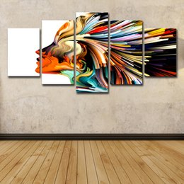 AbstrAct women figure online shopping - 5 Piece Canvas Art Printed Colors Lines Woman Figure Painting on Canvas Room Decoration Print Poster Picture Canvas