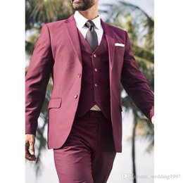 Three Piece Suit Styles Australia - 2018 Burgundy Wedding Men Suits Notched Lapel Casual Style Blazer Three Piece Jacket Pants Vest Tailored Made Male Suit
