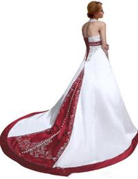 $enCountryForm.capitalKeyWord Australia - New Coming Best Made Embroidery Wedding Dresses Sweep Train A-Line Halter Bridal Gowns vestido de noiva Beaded Gorgeous