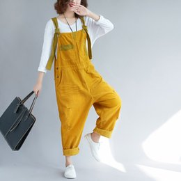 Jumpsuit Women Large Australia - Large size Corduroy bib pants Women Baggy Jumpsuits Patchwork hanging crotch Rompers Trousers hip hop Ripped dancing Overalls T5190614