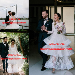 Wedding Dress Cake Images Australia - Elegant 2019 Ankle Length Scoop Neck Garden Beach A Line Wedding Dresses Appliqued Tulle Layers Bridal Gowns Long Sleeves Puffy Cake Skirts