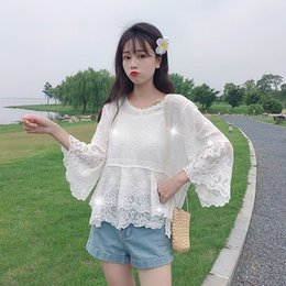 hollow lace shirts crochet Australia - Summer Women Sweet Fresh Lace Trumpet Sleeve Shirt Hollow Embroidery Crochet Cropped Sleeve Top New Arrival