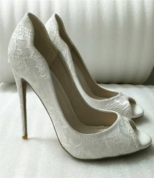 $enCountryForm.capitalKeyWord UK - 2019 new 12cm 10cm heel height High quality Hot sale White Sexy High heels open Toe Ladies Jeweled bridal Wedding Shoe Closed Toes