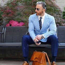 $enCountryForm.capitalKeyWord Australia - Blue Men Suits for Wedding Groom Tuxedo Business Man Items Double Lapel Groomsmen Blazer trajes de hombre Prom Party 2Piece Terno Masculino