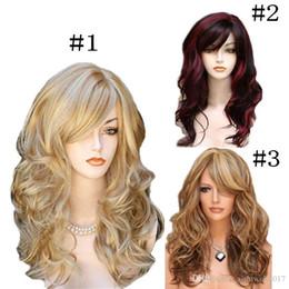 $enCountryForm.capitalKeyWord Australia - Long Wavy Synthetic Wig Black Brown Golden Women High Density Temperature Hair Glueless Wave Cosplay Curly Hair Wig 11 styles