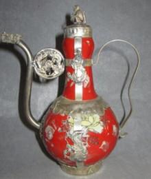 Metal chinese teapot online shopping - design Decorate Ancient Chinese Qing Tibetan silver teapot ceramic flagon tools wedding Decoration Brass