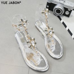 $enCountryForm.capitalKeyWord Australia - Sliver Woman Sandals Rhinestones Chains T-strap Comfortable Flat Crystal Sandals T-strap Thong Crystal Flip Flops Drop