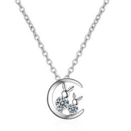 925 cat pendant online shopping - Net red female simple fresh temperament personality student wind wild moon cat sterling silver necklaces SE055