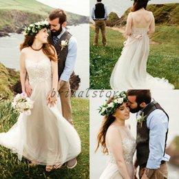 $enCountryForm.capitalKeyWord NZ - Summer Rustic Illusion Top Lace Wedding Dresses Sexy Sheer Straps Chiffon Beach Forest Garden Bridal Gowns plus size robe de mariée 2019