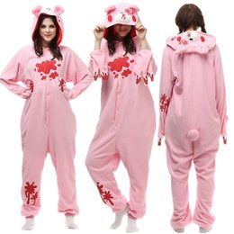 sleepwear costumes Australia - Adults Cosplay Costume Pink Gloomy Bear Polar Fleece Sleepwear Women Men's Jumpsuit Halloween Party Cosplay camouflage Costumes