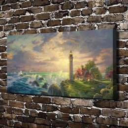 Framed Painting Scenery Australia - Thomas Kinkade,The Guiding Light Scenery,1 Pieces Canvas Prints Wall Art Oil Painting Home Decor (Unframed Framed) 20x40.