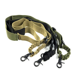 One pOint rifle sling online shopping - Tactical One Single Point Adjustable Bungee Rifle Gun Sling System Strap Multifunctional tactical anti lost Rope Home Toy straps Free DHL