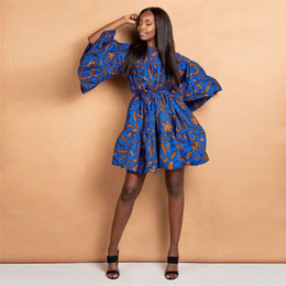 Wholesale traditional fashion clothes resale online – African Clothes News Autumn Traditional Dashiki Print Bazin Lace Wax Ruffle Sleeve African Dresses for Women Fashion Party