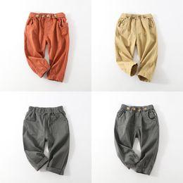 Green biG pocket pants online shopping - Infant Casual Pants Children Solid Color Open File Big Pocket Casual Pants Mid Waist Tether Boy Girl Loose Pants