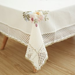 CroCheted Cotton table Cloth online shopping - Europe Flowers Tablecloth White Hollow Lace Cotton Linen Dustproof Table cloth Wedding Banquet TV Cabinet Cover Cloth