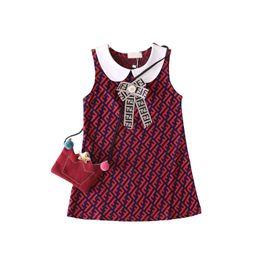 Girls shirts lininG online shopping - FF Letters Kids Designer Dress Girls Princess Sleeveless Doll Lapel Dresses Luxury Vest Shirt Skirt Fends Bowknot One Piece Dresses B6201