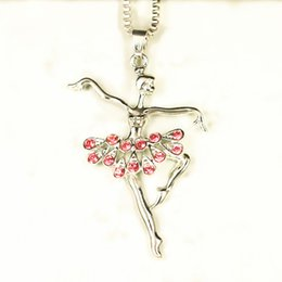Discount ballet dancer charm - Fashion Silver Plated White Dancing Ballerina Dancer Ballet Dance Pendant Necklace Charm Girls Christmas Valentine'