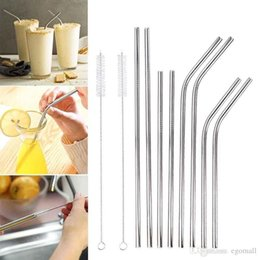Hot Bar Australia - Hot More size straight and bend stainless steel straw and cleaning brush reusable drinking straw bar drinking tool Stainless Steel Straw