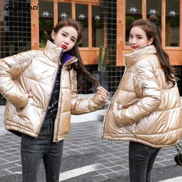 woman black winter clothes NZ - Parkas Women Solid Stand Collar Bright Black Pink Winter Coats Womens Zipper All-match Korean Harajuku Clothes Elegant Students