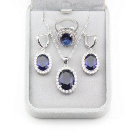 sterling silver jewelry sets Canada - Simple Classic Style Oval Blue Cubic Zirconia 925 Sterling Silver Women Accessories Jewelry Sets Earrings Pendant Necklace Ring
