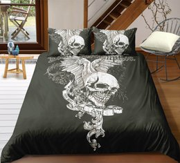 white bedding pink roses Australia - Black and White Skull Bedding Set King Size Scary Wing Duvet Cover Queen Home Textile Printed Single Double Bed Set With Pillowcase 3pcs