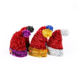 Sparkling hatS online shopping - Holiday Home Bar Store Decoration D Christmas Hat Sparkle Christmas Pendant Drop Ornament