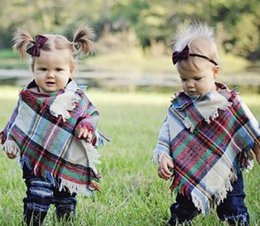 Shirt Poncho Australia - Kid Clothes Shirt Knited Plaid Coat Toddler Faux Knitted Warm Cape Cloak Poncho Casual Children Winter Clothes 3-5 Year Blanket