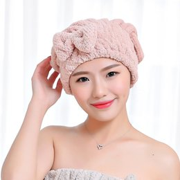 hair wraps Australia - FLC Bowknot Women Bathroom Absorbent Quick-drying Polyester Cotton Bath Towel Hair Dry Cap Head Wrap Hat Salon Towel 15