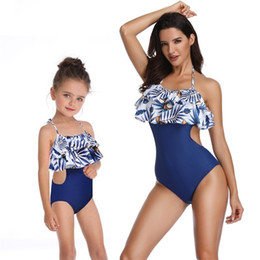 $enCountryForm.capitalKeyWord Australia - One Piece Lotus Leaves Swimwear Mother And Daughter Swimming Suit For Girls Mommy Kids Monokini Women Family Matching Clothes