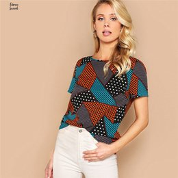 woman blouse basic Australia - Geometric Blouses And Polka Dot Print Women Tops And Summer Lady Multicolor Casual Basic Blouse Woman Clothes