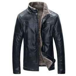 Chinese  HEE GRAND Winter Warm 2018 New Design Fashion Fur Inside PU Leather Jacket Thick 4 Colors Men's Leather Jacket MWP359 manufacturers